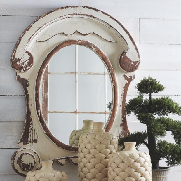 Distressed White Wash Wood Oval Mirror, Whitewash Oval Wood Wall Mirror