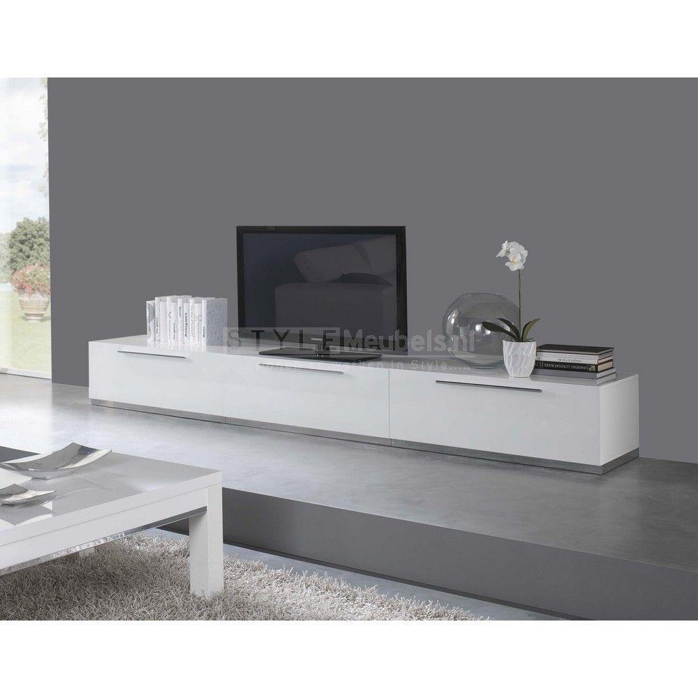 Tv meubel carmen 300cm hoogglans wit interieur for Hoogglans wit tv meubel