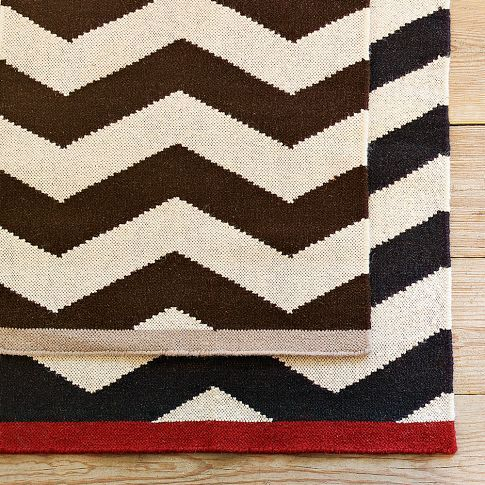 West Elm Zigzag Rug Trimmed In Red I Need This Rugs