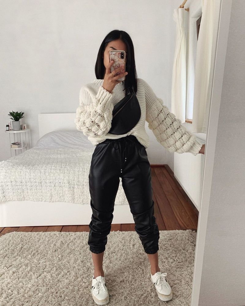 """Photo of Freshlions.com-YourStyleRoars! on Instagram: """"sunday stylin' 💞 obsessed with @thanyaw in the faux leather Jogger and cozy sweater 😍 tap photo to shop her outfit👆🏼 #freshlions #lionsbabe"""""""