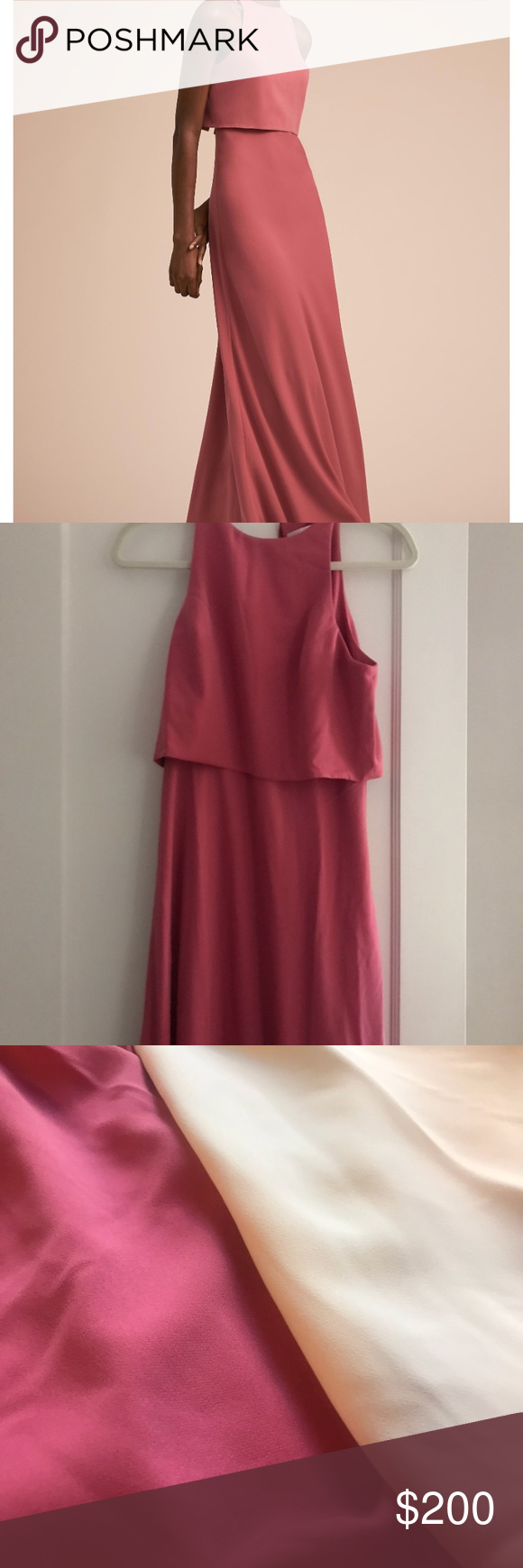 e85090de12d BHLDN Jill Stuart Iva Crepe Maxi in Pink Ribbon Worn once BHLDN Jill Stuart  Iva Crepe Maxi Pink Ribbon Long Dress. Three inches removed from the bottom  ...