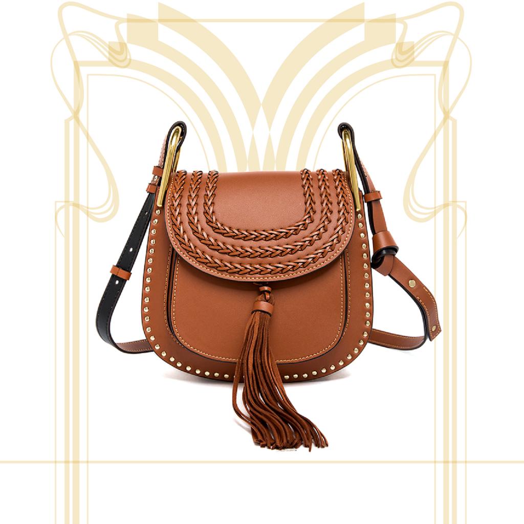 Brown with studded frame saddle bag. Chloe-Hudson inspired dupe bag ...