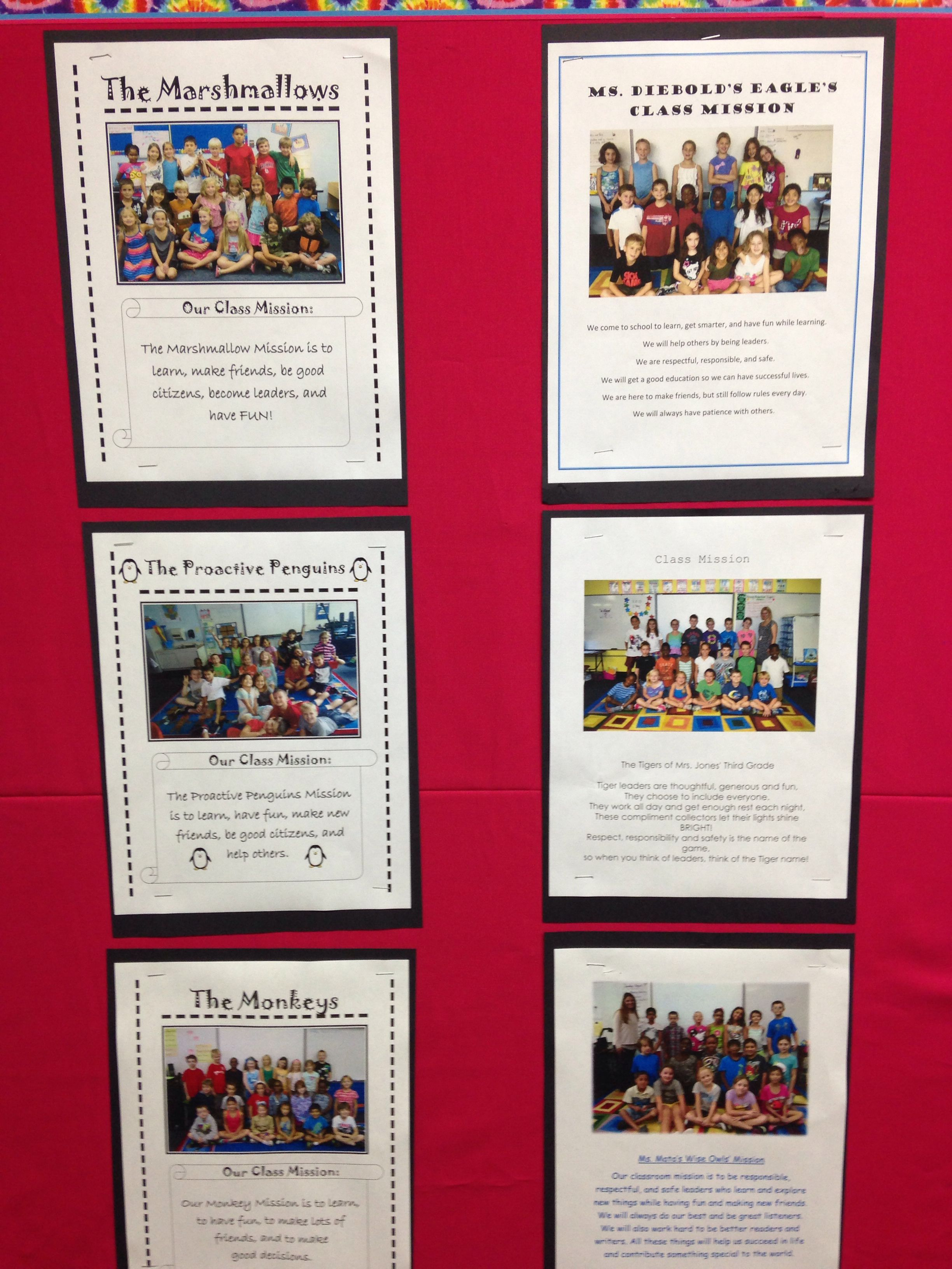Mission Statements And Class Name Bulletin Board