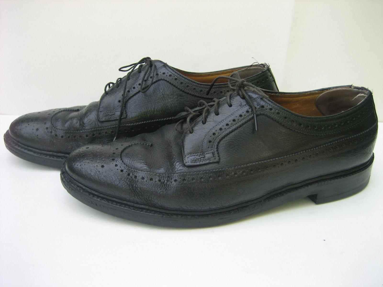 Germany Vintage FLORSHEIM IMPERIAL Black Leather Dress Wing-tip Oxfords, 10  D