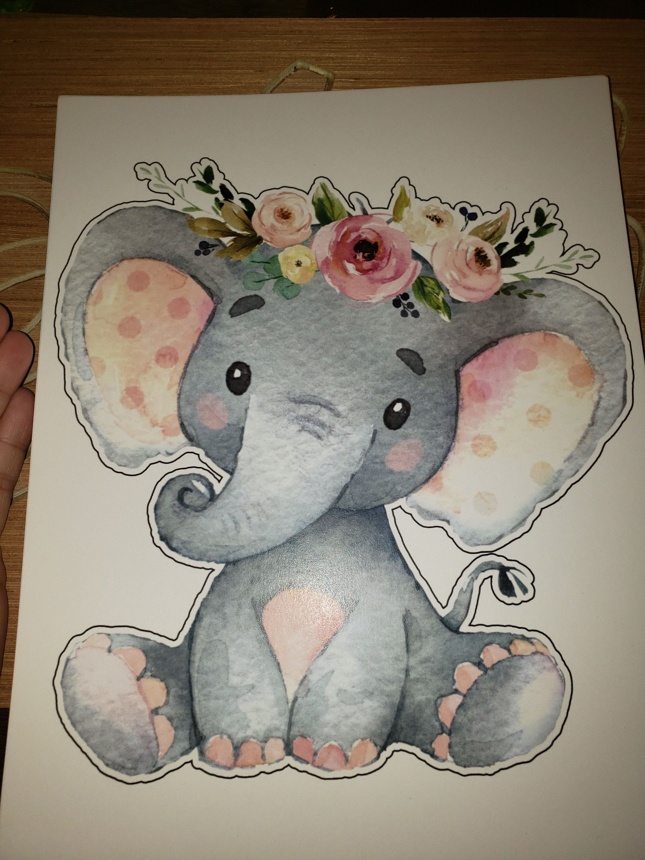 8 inch Pink Floral Elephant Baby Shower Centrepiece. Girl