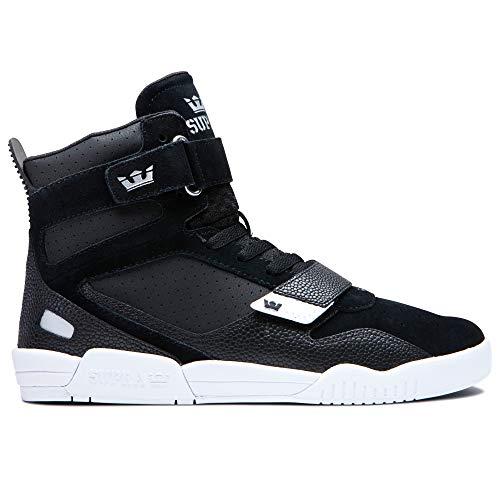 Supra Footwear – Breaker High Top Skate Shoes, Black/Silver-White