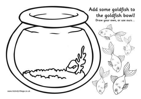 Goldfish Bowl Activity Printable Fish Coloring Page Cat