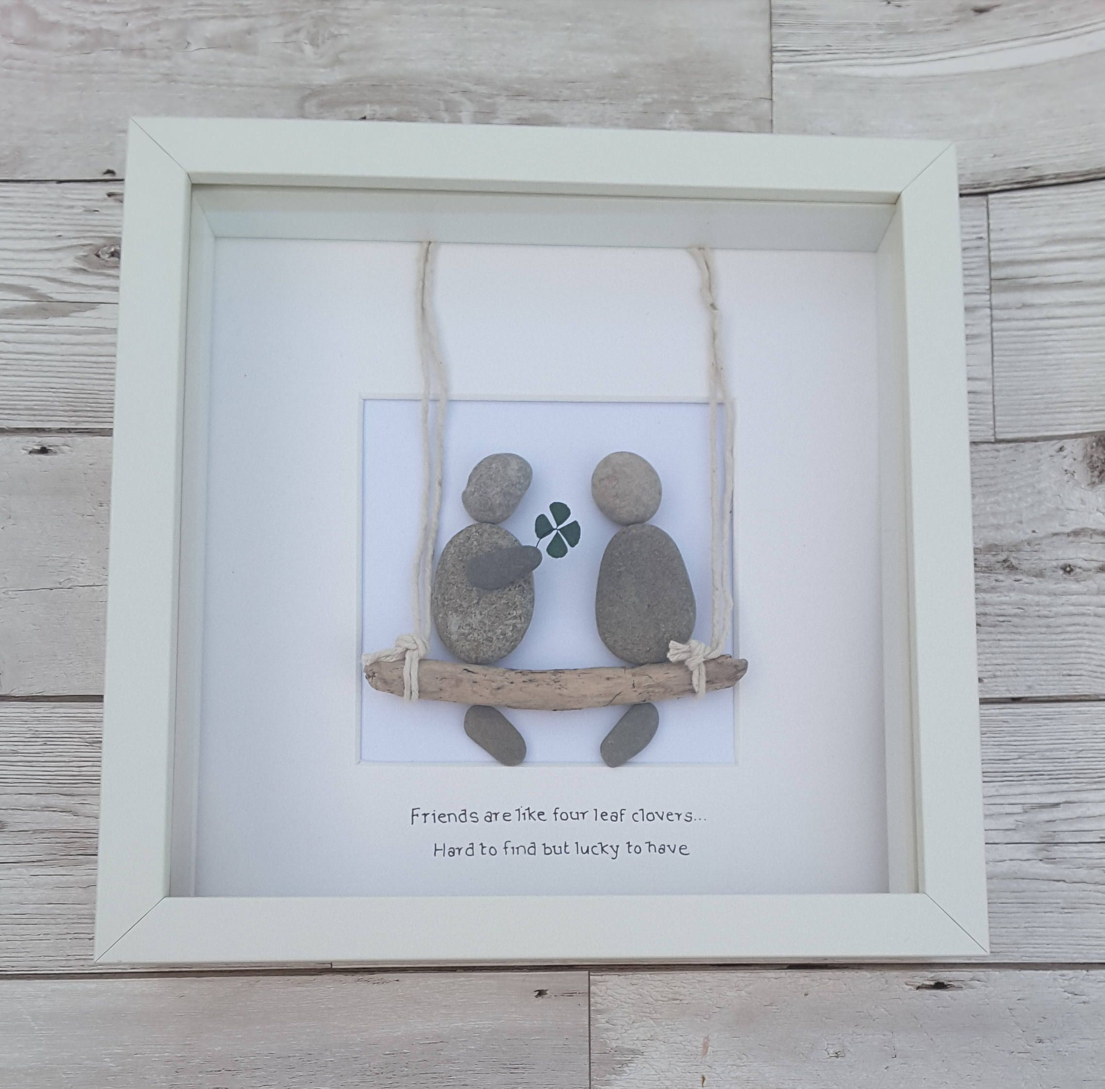 Irish gifts, Pebble art, best friend picture frame, four leaf clover ...