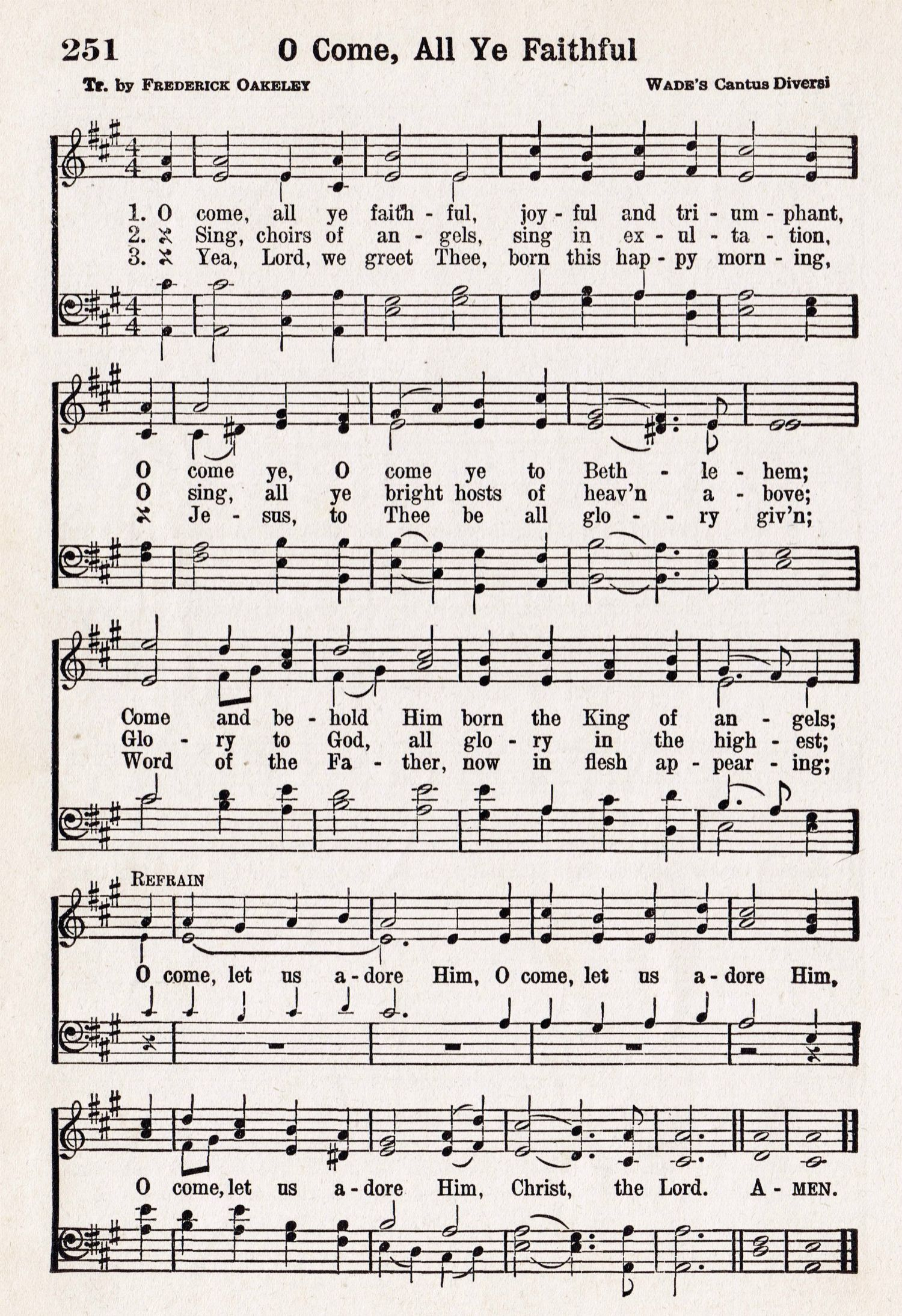 O Come All Ye Faithful Printable Antique Christmas Music Page