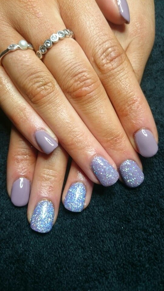 Young nails mani q in Bohemian rose with purple dawn glitters | Nail ...