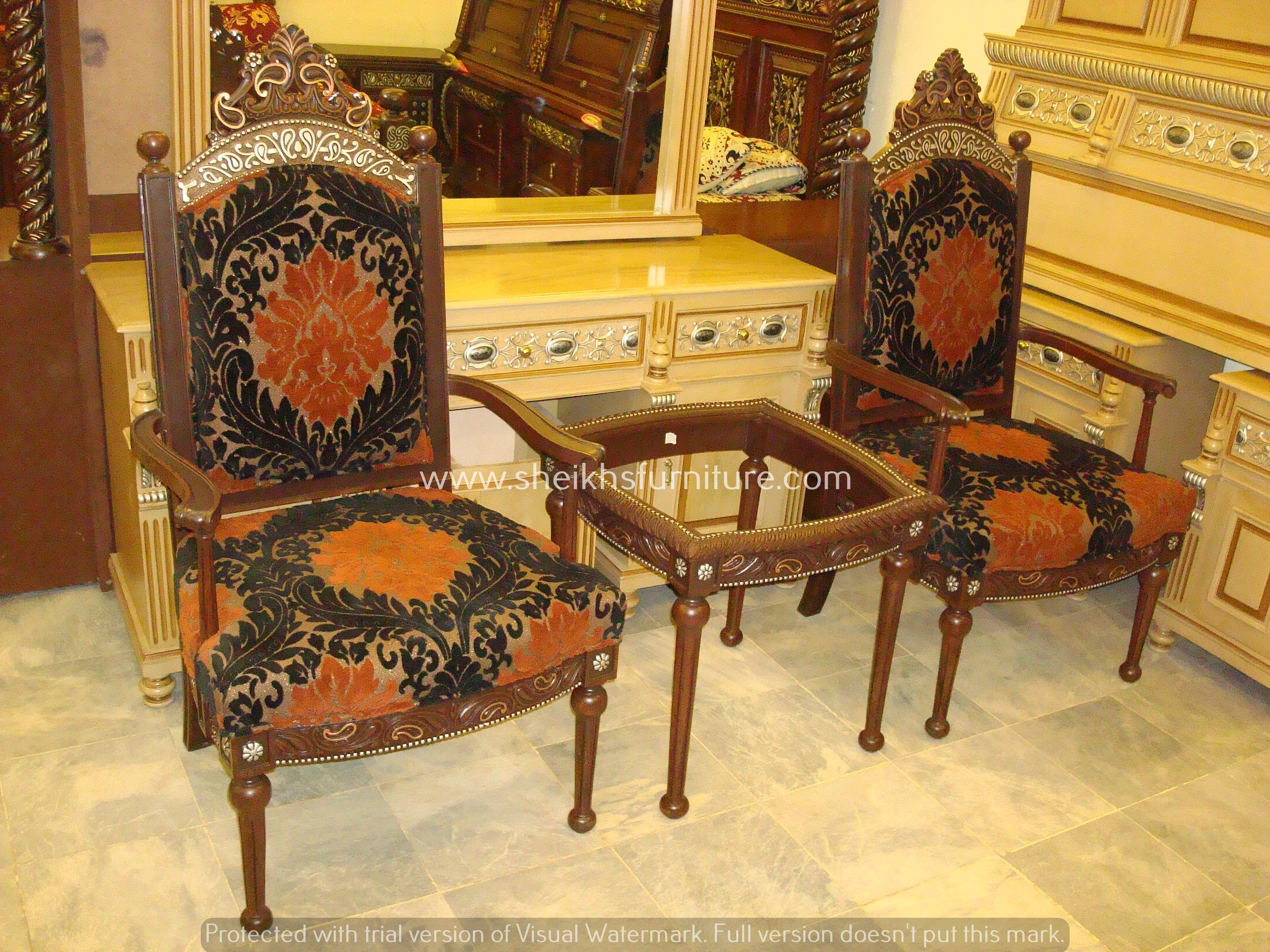 This is our solid rosewood classic bedroom chair set. This chair