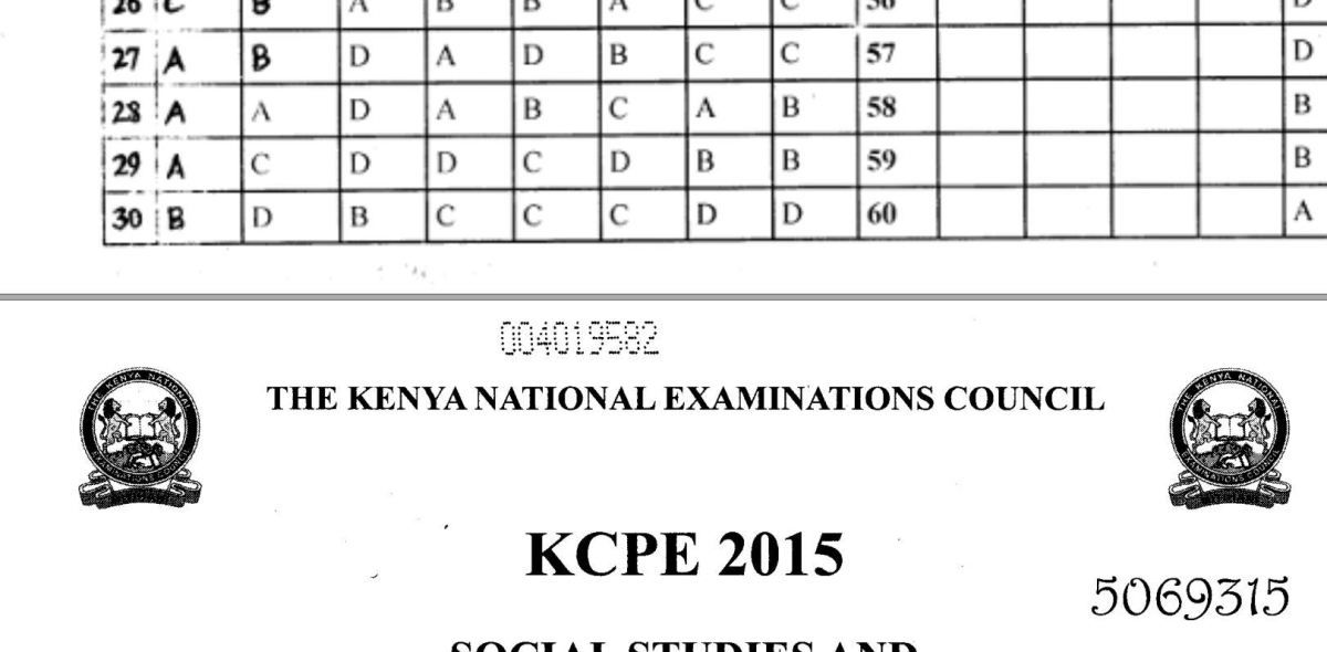 KNEC KCPE 2015 Past Papers with Answers (All Subjects) | Kenyan Exam