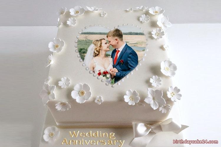 Wedding Anniversary Cake With Photo Frame Edit