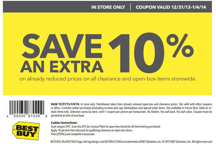 Best Buy 10 Off Open Box Printable Coupon Best Buy Coupons Buy Coupons Cool Things To Buy