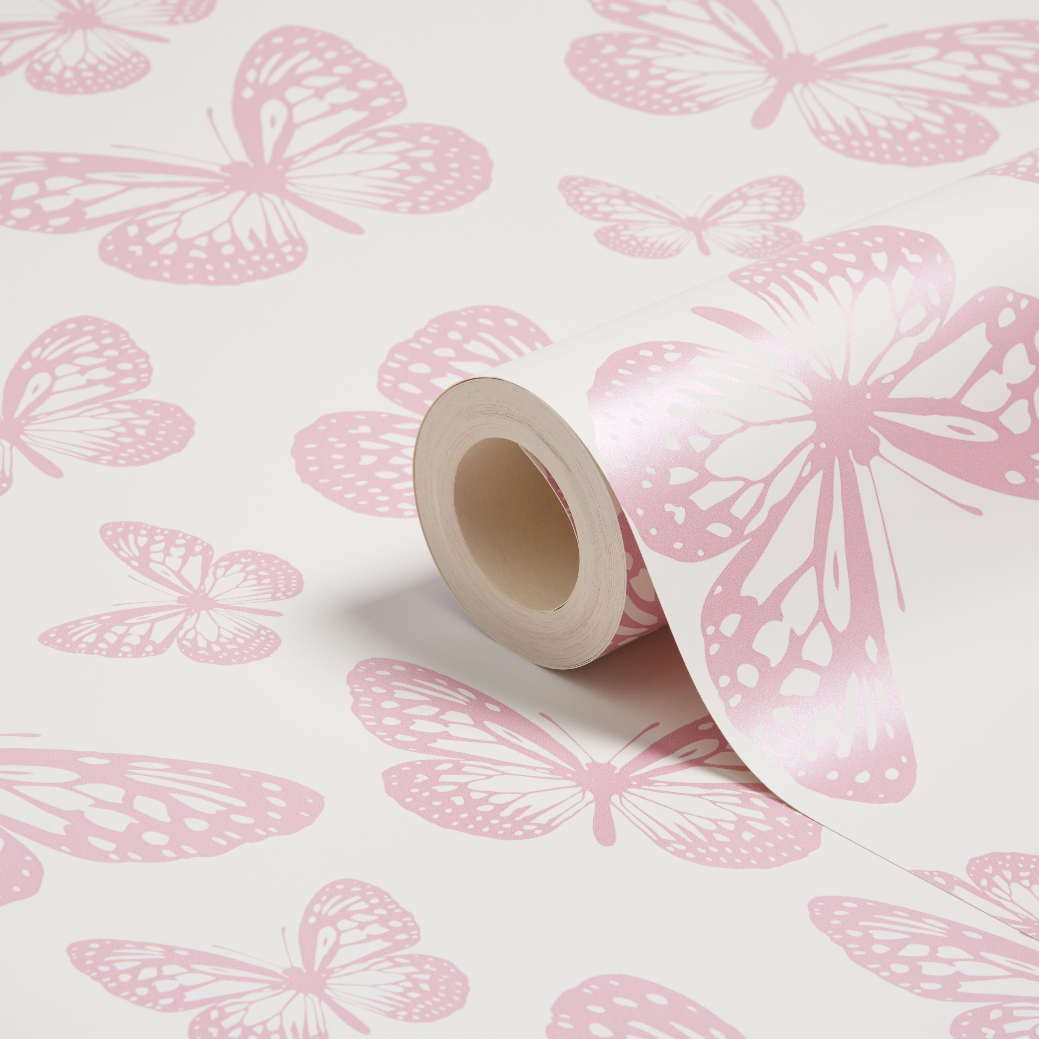 Fine Decor Fun4walls Pink White Butterflies Mica Highlight