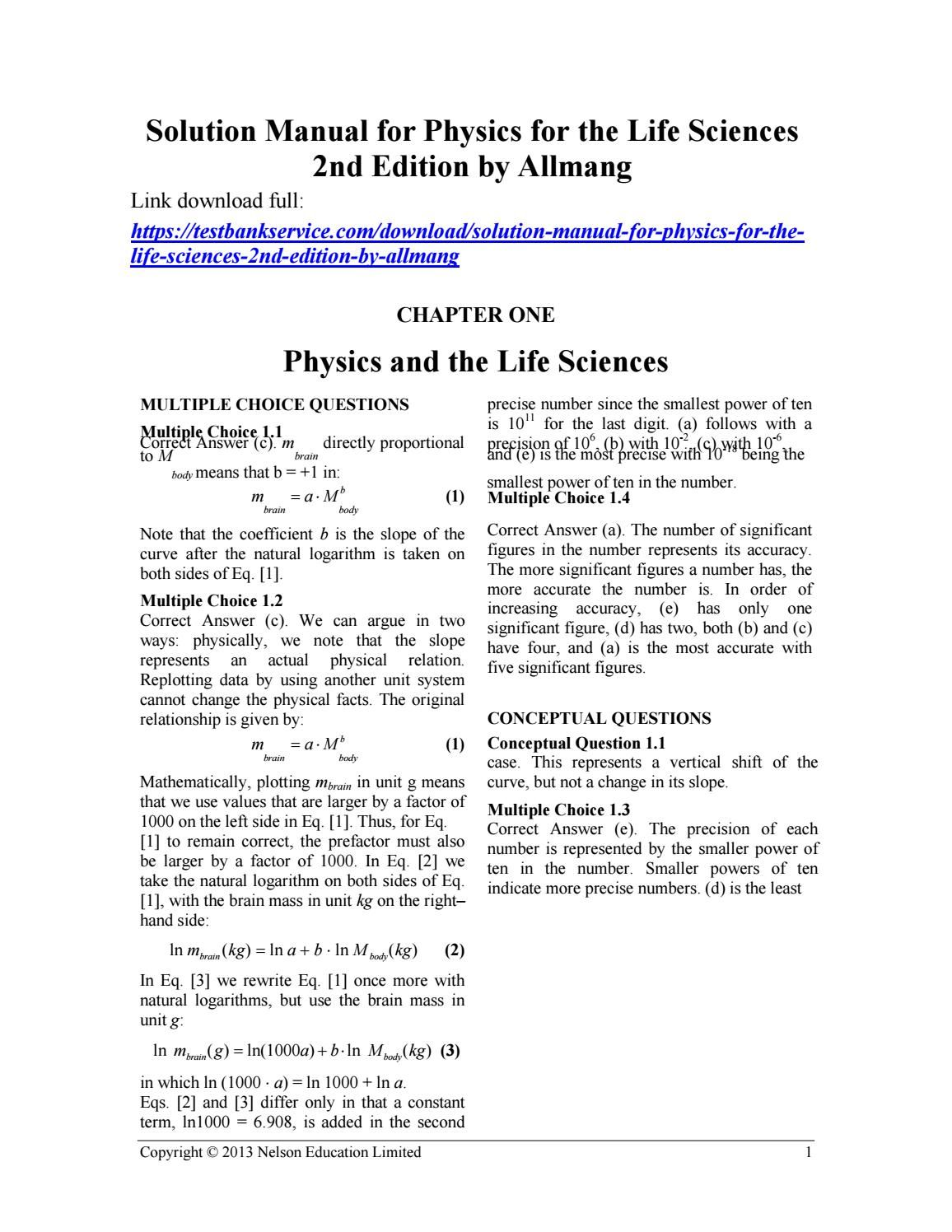 Solution Manual For Physics For The Life Sciences 2nd Edition By Allmang Life Science Physics Science