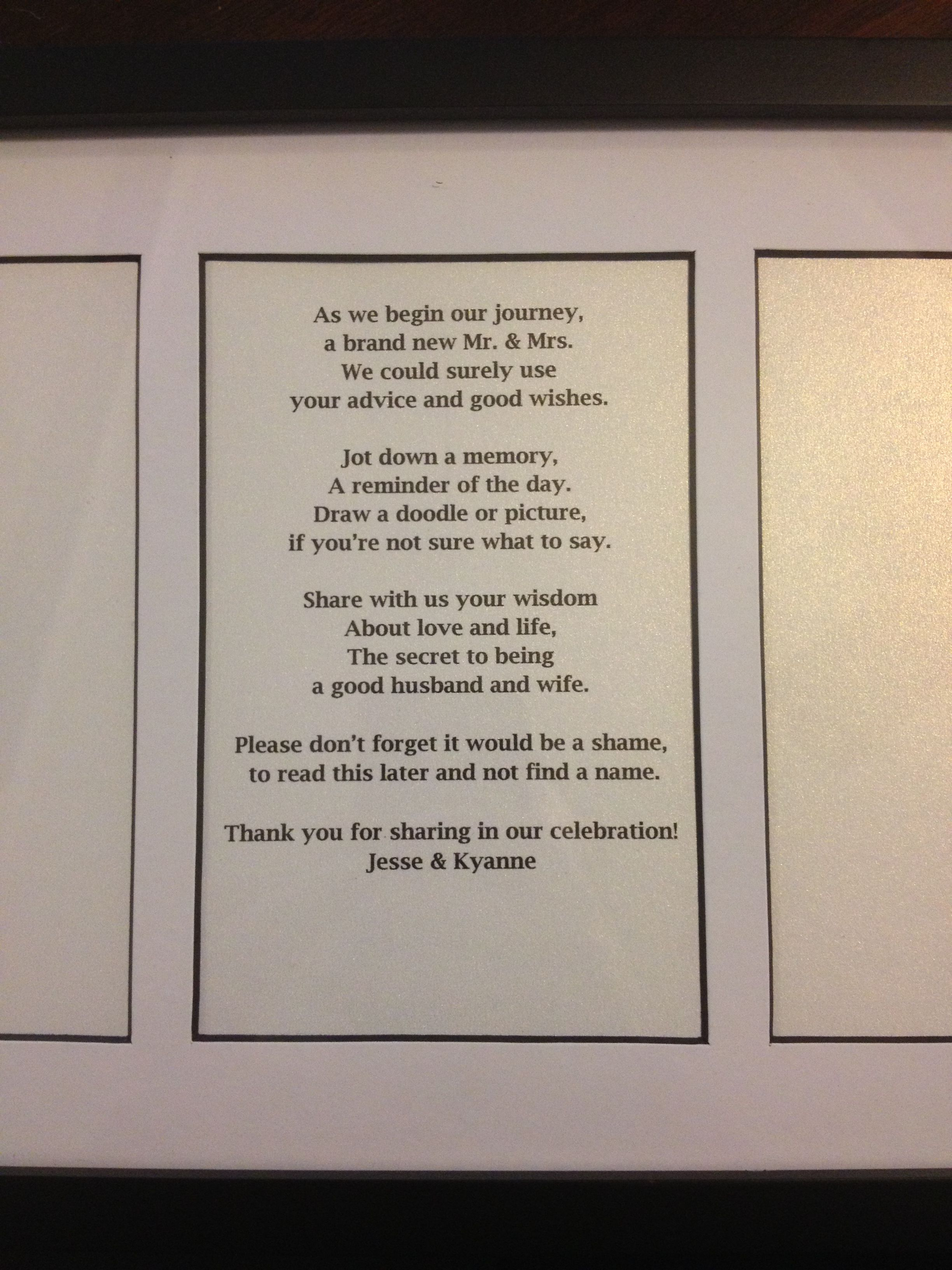 bridal shower keepsake book%0A Poem for our wedding advice memory book that guests can write   Another  keepsake