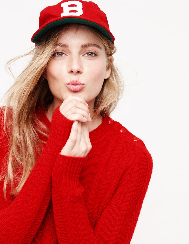 J.Crew Looks We Love: women's perfect cable sweater, culotte, Ebbets Field Flannels® for J.Crew Brooklyn Bushwicks ball cap, plaid pom-pom scarf and Sloan plaid d'Orsay flats with mini bow.
