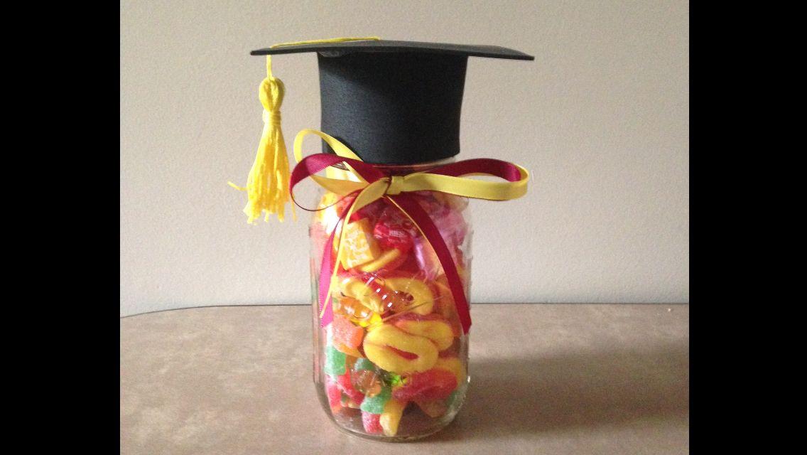 Graduation Cap Mason Jar Made For Sophia W Her Favorite Candy In It Favorite Candy Grad Parties Graduation Cap
