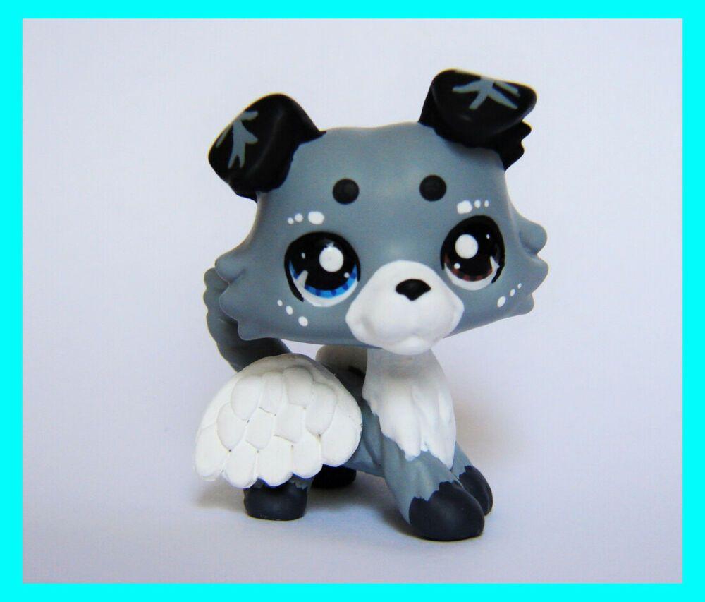 Littlest Pet Shop Collie Angel Guardian Ooak Custom Figure Lps Wings Dog Puppy Hasbro Lps Littlest Pet Shop Lps Dog Custom Lps