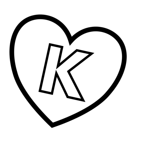 Letter K In Heart Coloring Page Heart Coloring Pages Lettering Lettering Alphabet