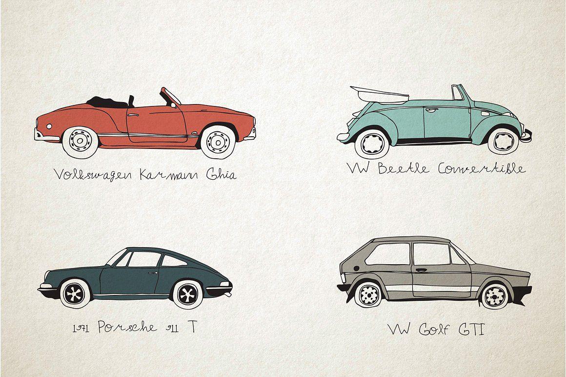 10 German Vintage Cars Vector Font Vintage Cars Car Vector