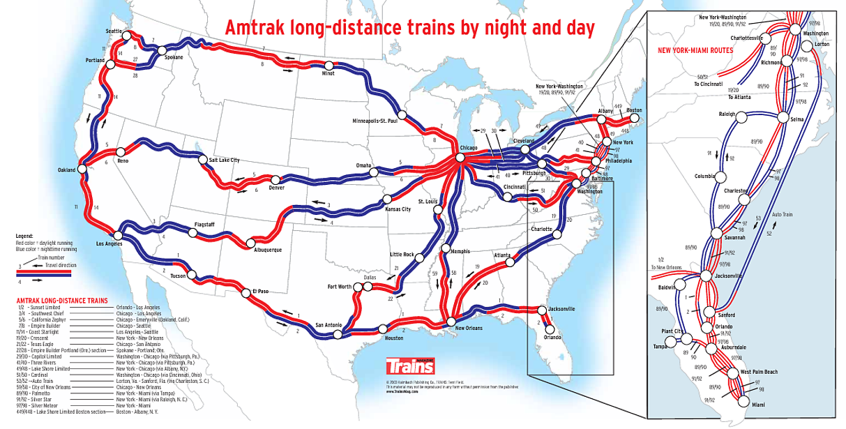 amtrak map united states Map showing what parts of an Amtrak route are traversed during