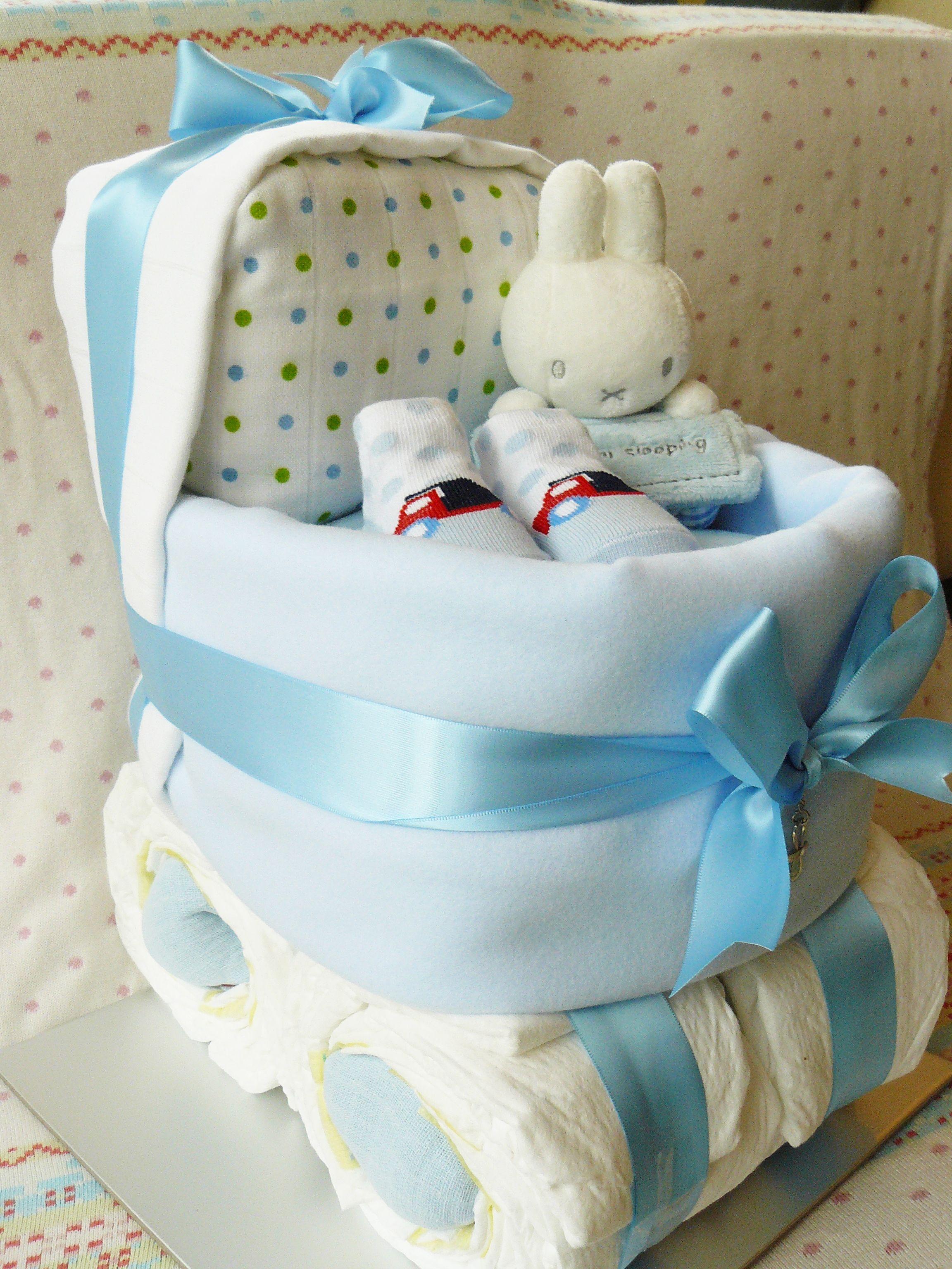 Amazing baby gift - boys nappy cake Miffy Cutie Pie Blueberry Pram ...