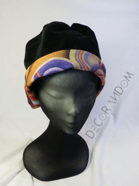 cappello in velluto nero,cappellino nero,foderato fantasia vintage,cappello morbido nero,a tesa stretta,con risvolto colorato,moda etica c7 di decorandom su Etsy