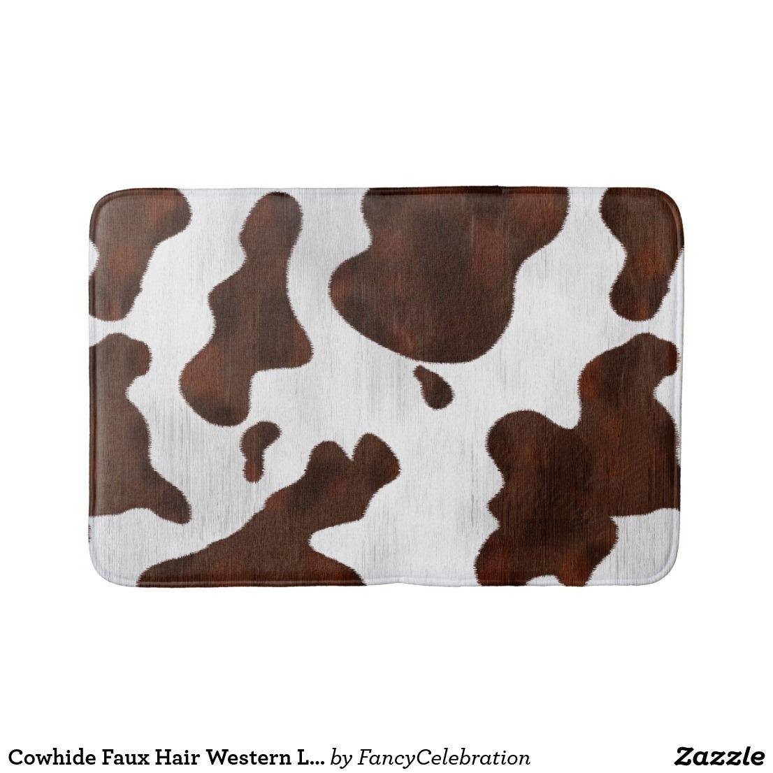 Cowhide Faux Hair Western Leather Spotted Pattern Bath Mat Zazzle Com Patterned Bath Mats Spots Pattern Western Leather