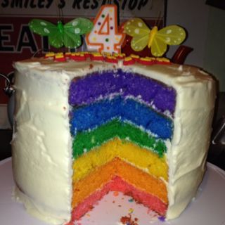 Rainbow Layer Cake- 3 packages of white cake mix, each layer colored ...