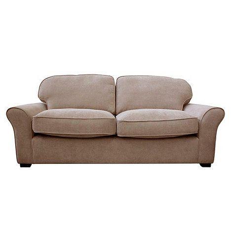 Debenhams Large taupe 'Kismet' sofa with dark wood feet- at Debenhams.com