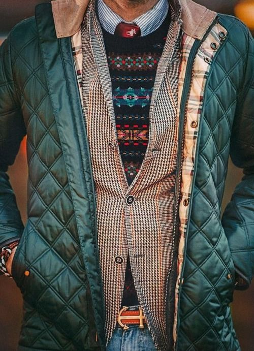 Image result for layering clothes men patterns