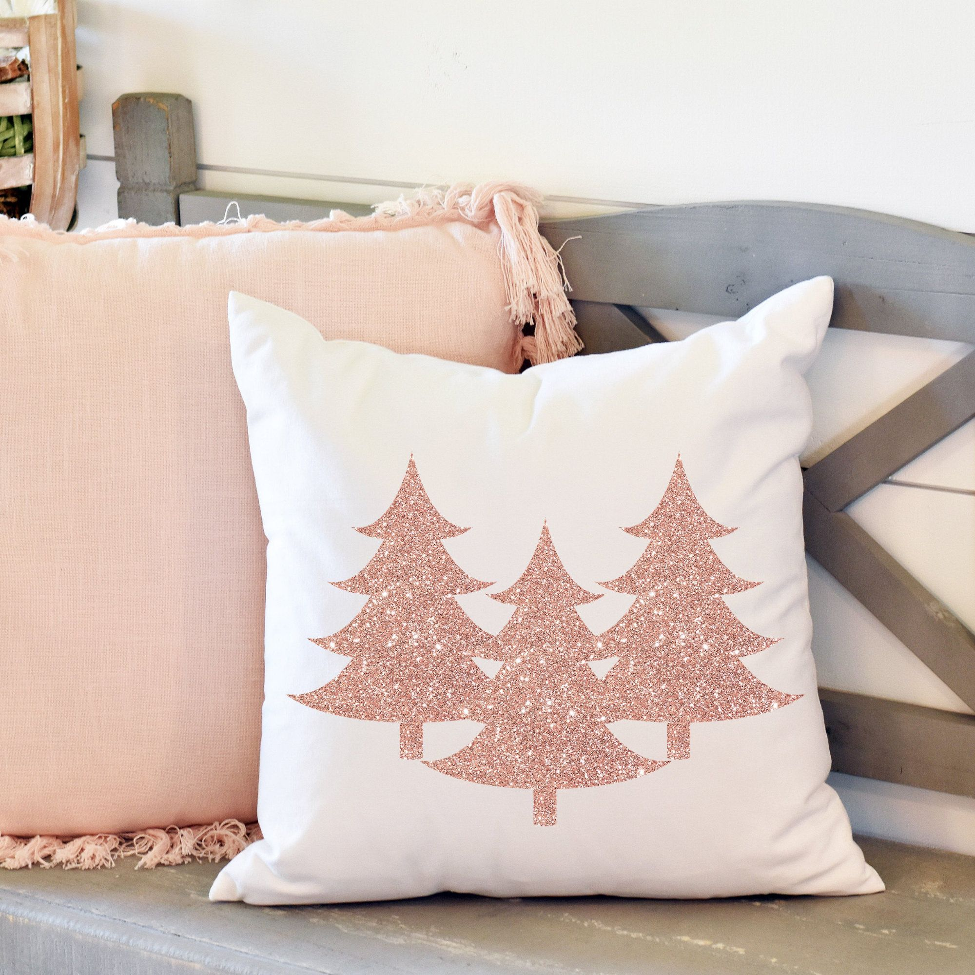 pink christmas tree pillow cover 20x20