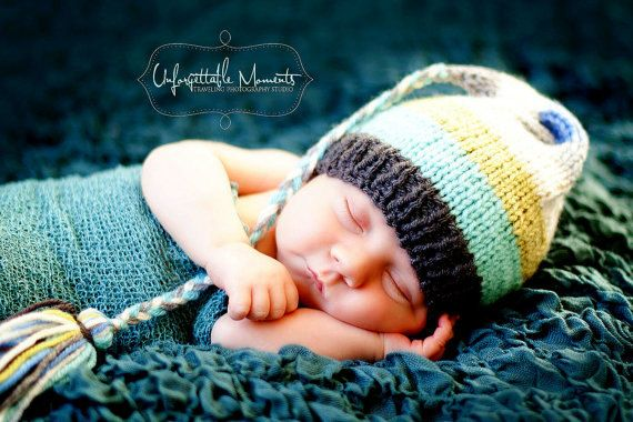 Newborn HAT Boy Girl Baby Photo PRoP Stripe FCN Cap 4 Fashion Conscious Knit to Order Unigender PRECiOus aqua celery cream grey Pick Color