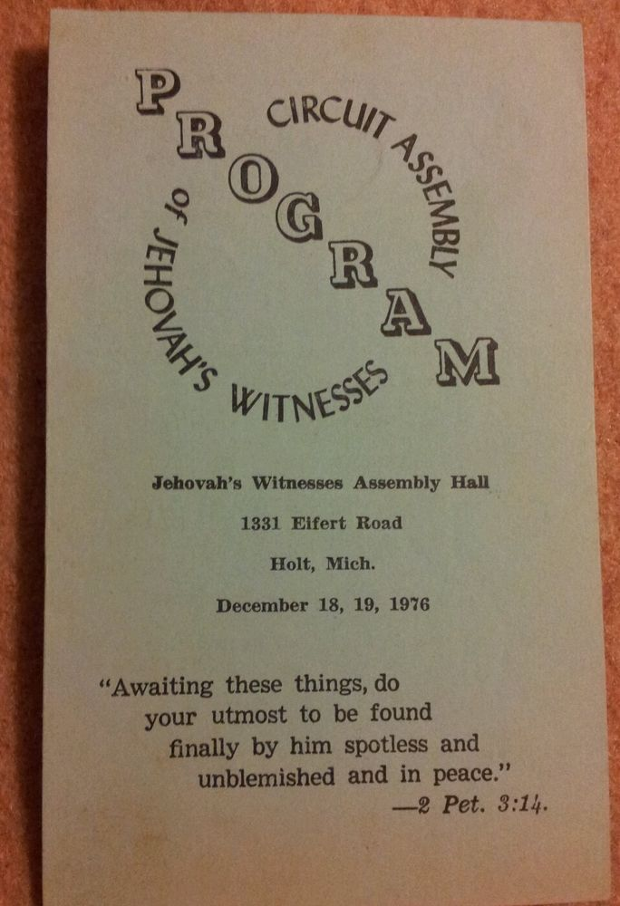 1976 Circuit Assembly Program Watchtower Jehovahs Witnesses
