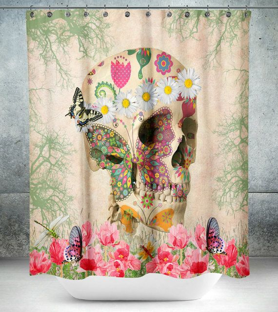 Day Of The Dead Bathroom Set: Sugar Skull Shower Curtain , Day Of The Dead , Retro Boho