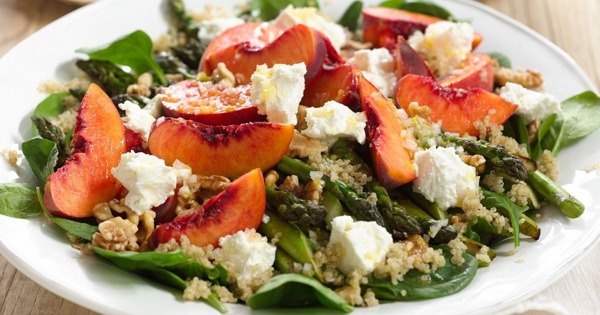 Warm Salad with Tortellini and Arugula Dressing and Quinoa Salad with Peaches, Goat Cheese, and Parma Ham
