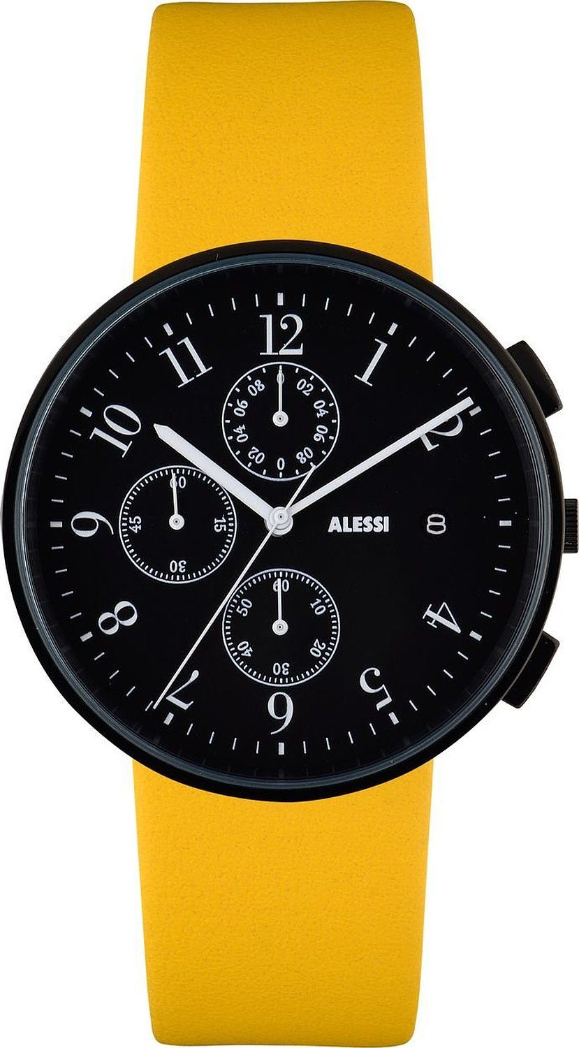 Alessi Men's Quartz Watch with Black Dial Chronograph Display and Yellow Leather Bracelet AL6400