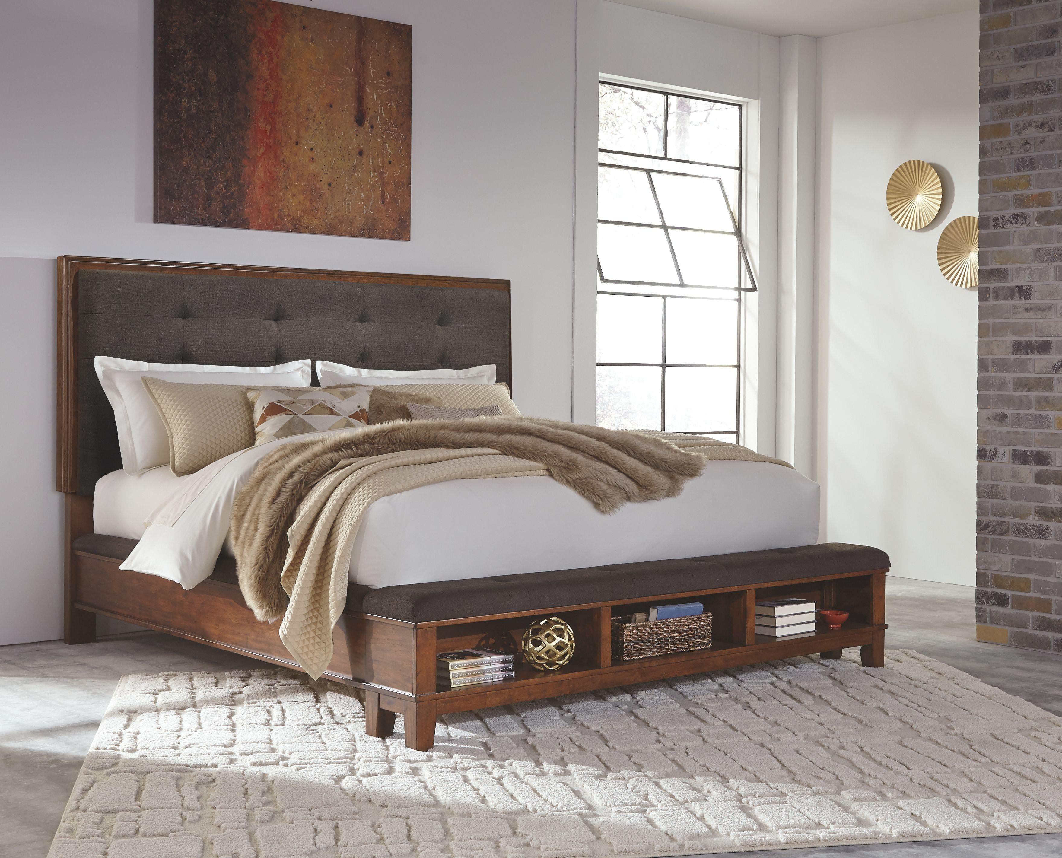 Ralene King Upholstered Panel Bed, Dark Brown Bed, Panel