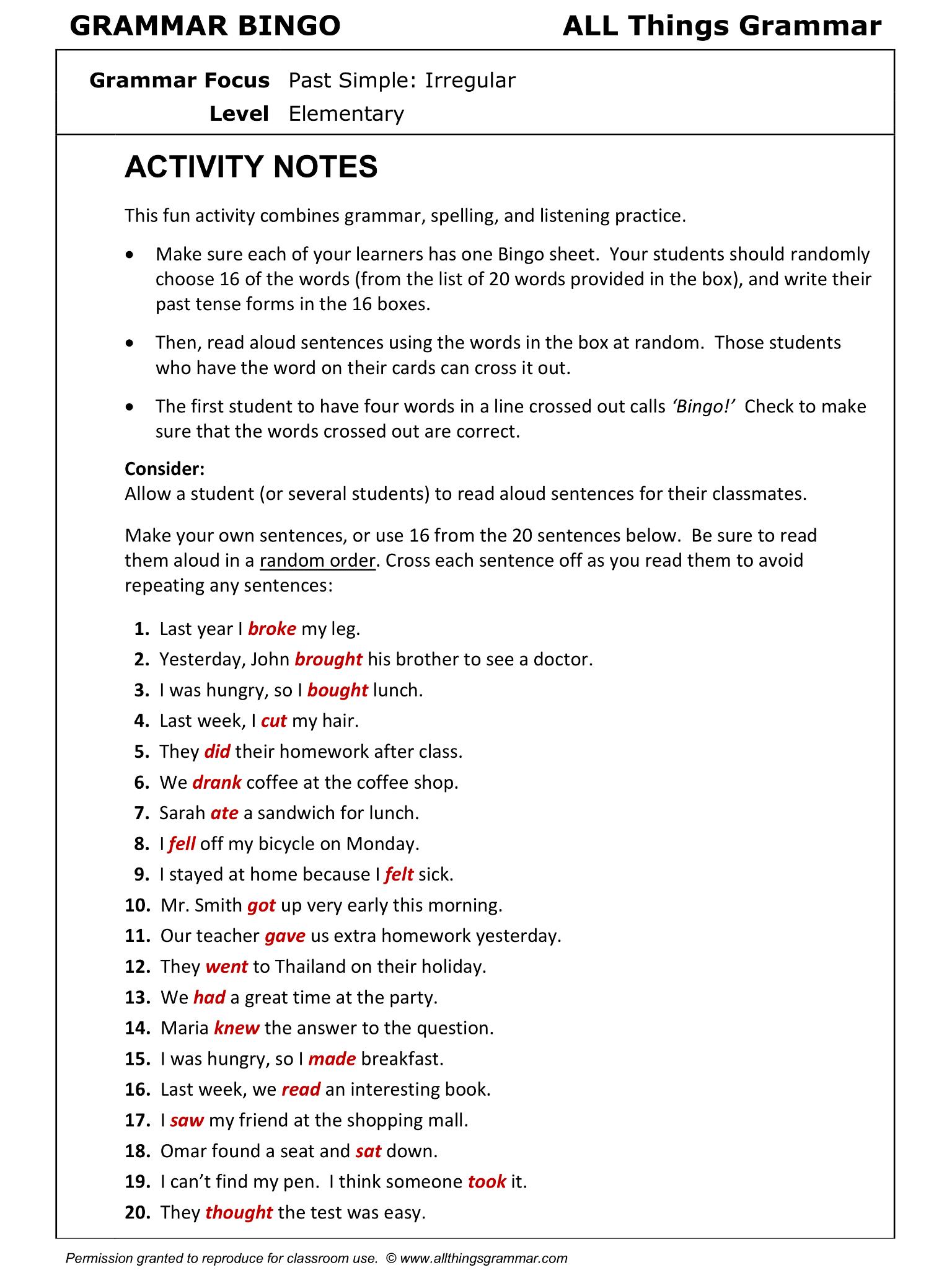 Worksheets Sat Grammar Worksheets english grammar bingo past simple irregular 22 httpwww httpwww