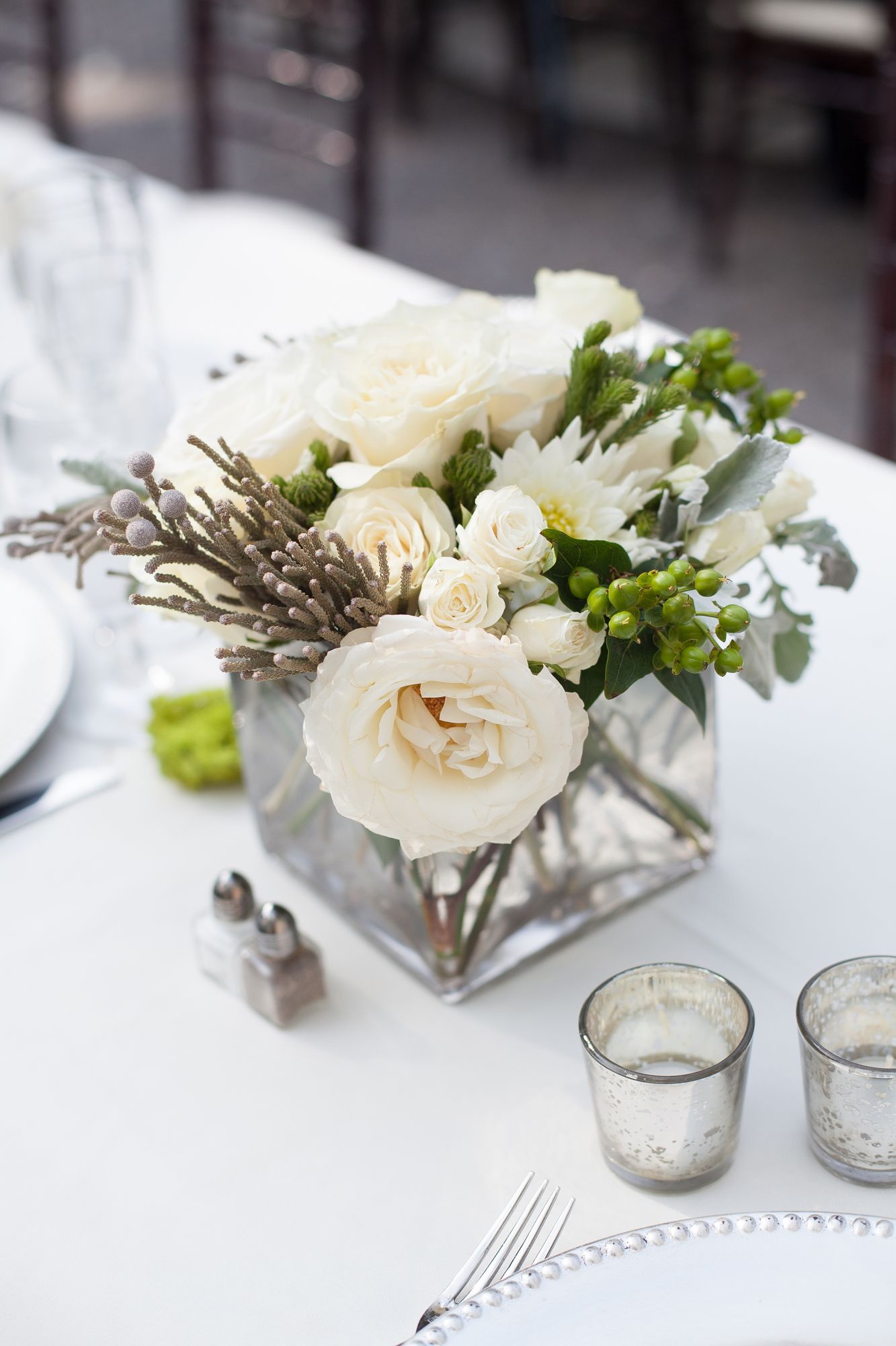 Understated White Garden Rose and Astilbe Centerpieces | Wedding ...