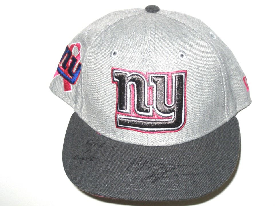 557eeb562 Orleans Darkwa Sideline Worn   Signed New York Giants Breast Cancer  Awareness New Era 59Fifty Cap