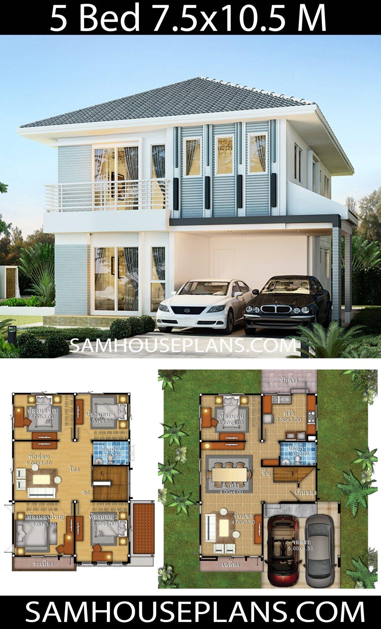 House Idea 7 5x10 5 With 5 Bedrooms Sam House Plans Duplex House Design Home Building Design House Plans