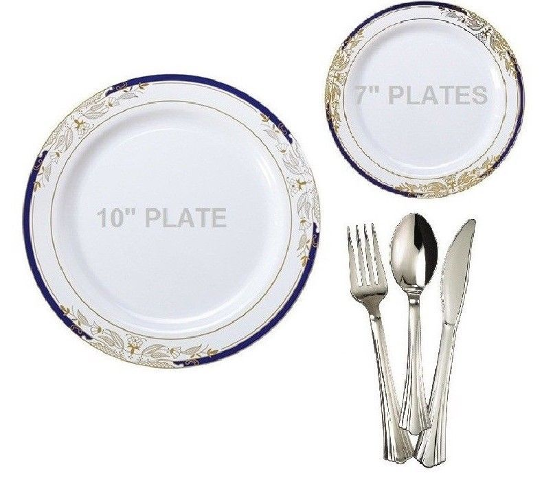 Wedding Party Disposable Plastic Plates u0026 silverware white / blue gold  sc 1 st  Pinterest & Wedding Party Disposable Plastic Plates u0026 silverware white / blue ...