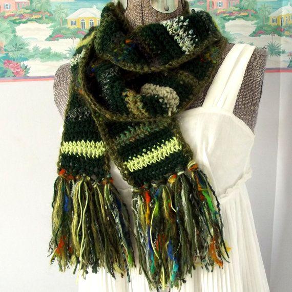 Green Crochet Scarf, Scrappy Scarf, Long Scarf, St ...