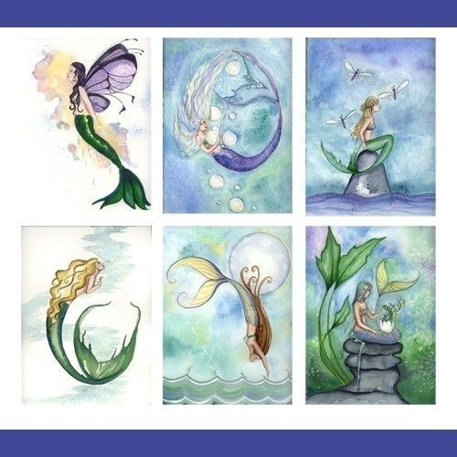 THANK YOU MERMAID NOTE CARDS from Original Watercolors by Grimshaw