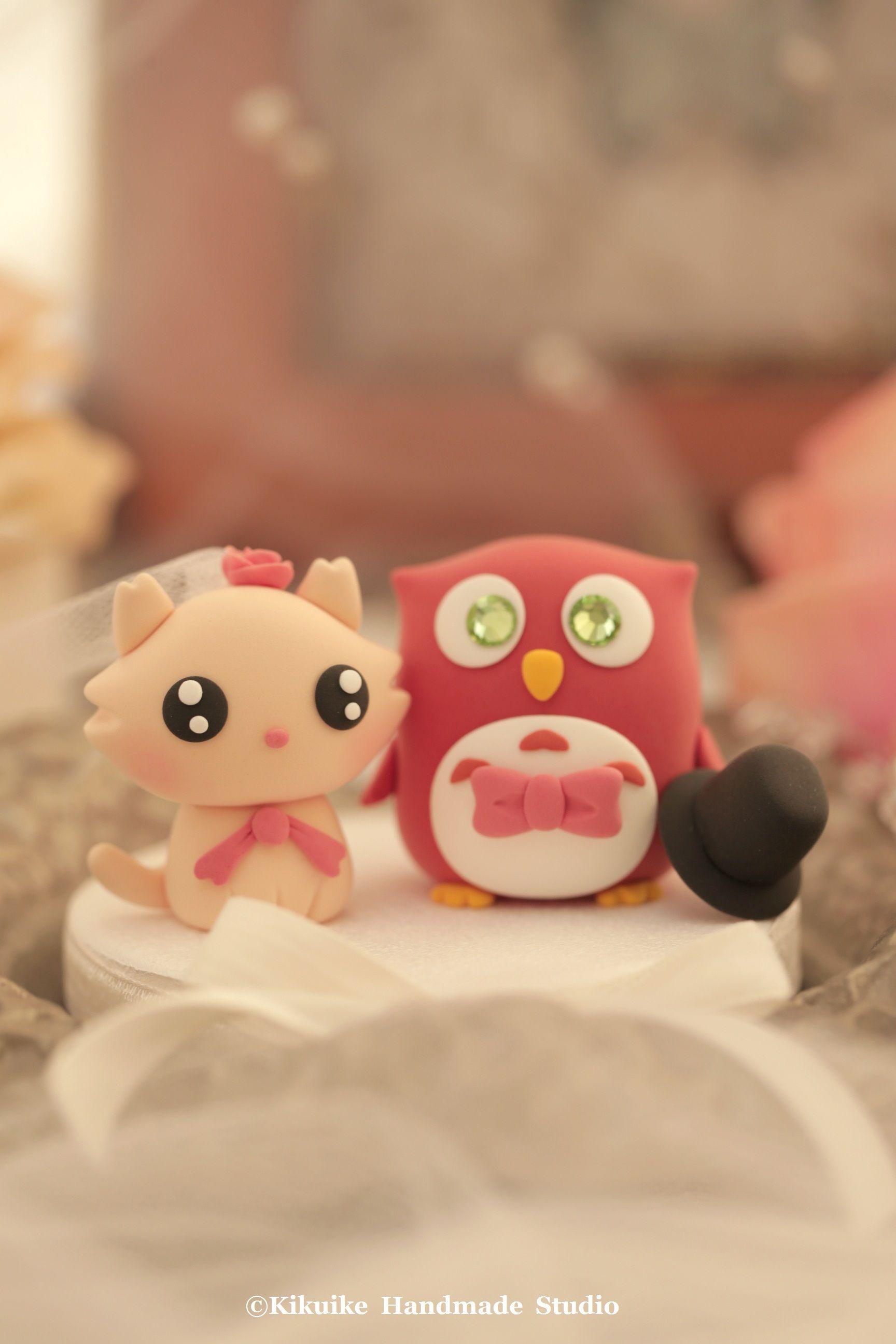 Owl and cat wedding cake topper owls cake topper pinterest
