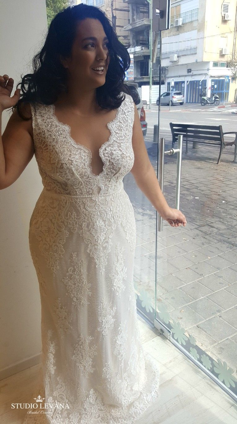 Plus size lace mermaid wedding gown with deep v studio levana