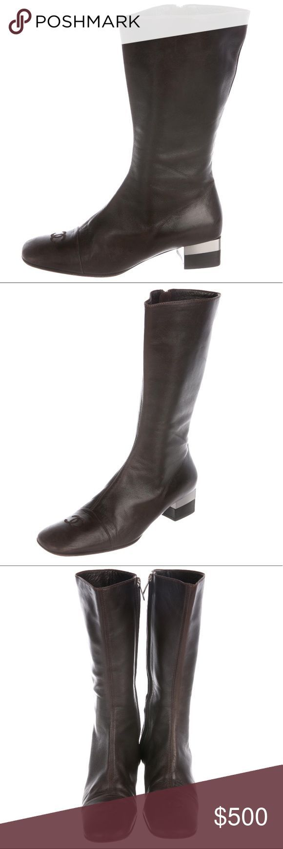 CHANEL HIGH LEATHER BOOTS These are a gorgeous pair of ? chocolatey colored C...,  CHANEL HIGH LEATHER BOOTS These are a gorgeous pair of ? chocolatey colored C...,